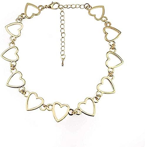 WYDSFWL Collar Boho Vintage Collar en Forma de corazón Collar para quien Chica Moda Oro Plata Color melocotón Hueco corazón Cadena Collar de Alambre de púas Regalo