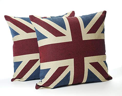 A Pair Of 18in x 18in Vintage Union Jack Cushions Complete With Pad