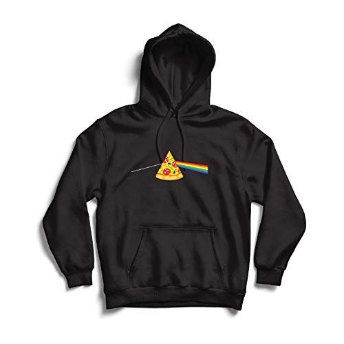 lepni.me Felpa con Cappuccio Pizza in Umore colorato Arcobaleno, Progettazione Cibo Amante (Small Nero Multicolore)