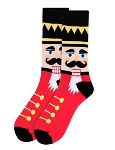 Calcetines navideños para hombre con diseño de cascanueces, Rojo, Talla única