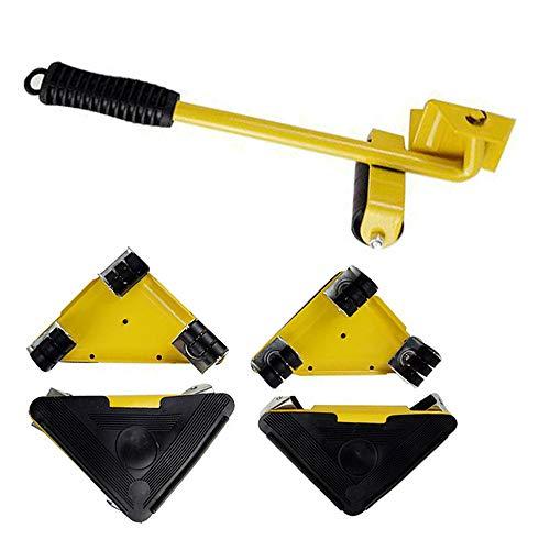 Ordioy Möbel Bewegende Räder Set, Möbeltransportheber Heavy Suffs Bewegt Werkzeug, 360-Grad Drehbarer Pad, Max Auf 150Kg,Gelb