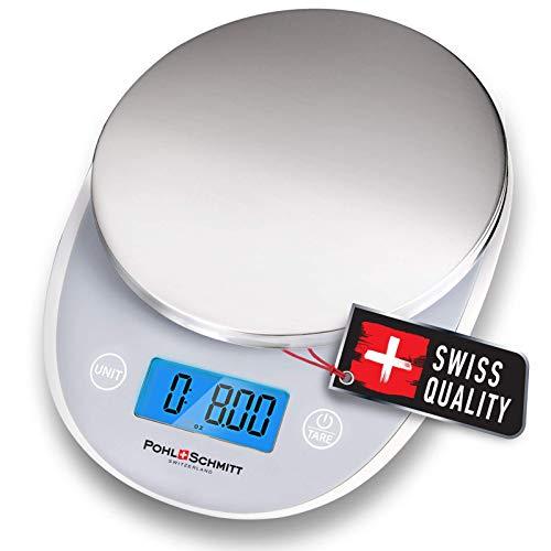 Pohl+Schmitt - Báscula digital de cocina para alimentos, multifuncional, medición de peso para cocinar y hornear en gramos/onzas, apagado automático, acero inoxidable (pilas incluidas)