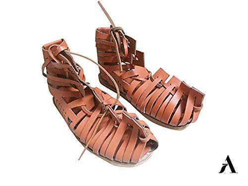 AnNafi Mens Gladiator Leather Sandal | Roman Centurian Brown Caligae|Medieval Greek Soldier Sandles| Ancient Costume Footwear (7)