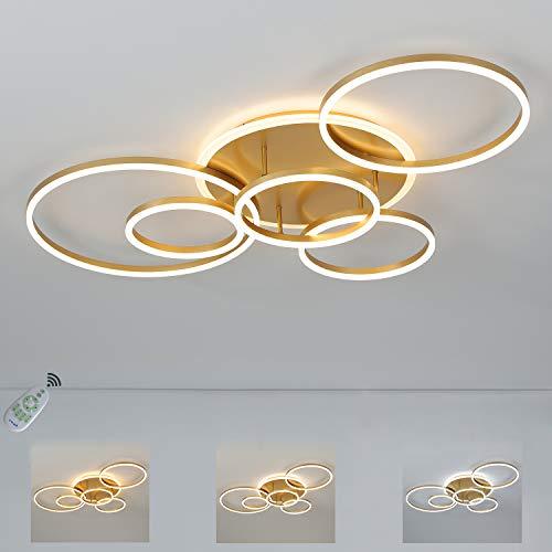 LED Deckenleuchte Gold 6 Ring Design Metall, 6-Flammig Kreative Wohnzimmer-Lampe Decorative, Moderne Dimmbare Deckenlampe Runde mit Fernbedienung, 108 Watt, 3300 Lumen, Innen Deckenbeleuchtung