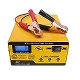 Etrogo Caricabatterie 12V/6V 1A-15A Caricatore di impulsi Caricabatterie Automatico Intelligente Completamente Automatico con Schermo LED per Auto, Moto, Giocattoli