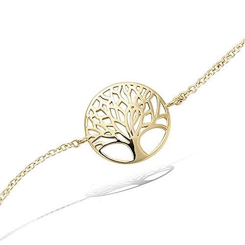 Tata Gisèle armband, verguld, levensboom, fluwelen zakje