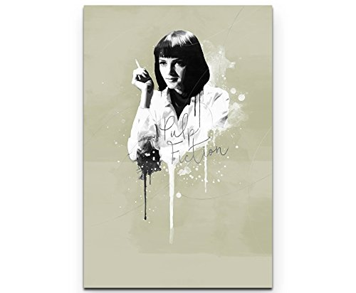 Paul Sinus Art Pulp Fiction Mia Wallace 90x60cm Splash Art Wandbild auf Leinwand naturfarbend