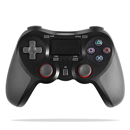 COOLEAD Mando Inalámbrico Playstation4, Controlador Inalámbrico Bluetooth para Playstation4 Doble Choque 4 con Panel Táctil Vibración Dual Compatible con PlayStation4 y PC(Negro)