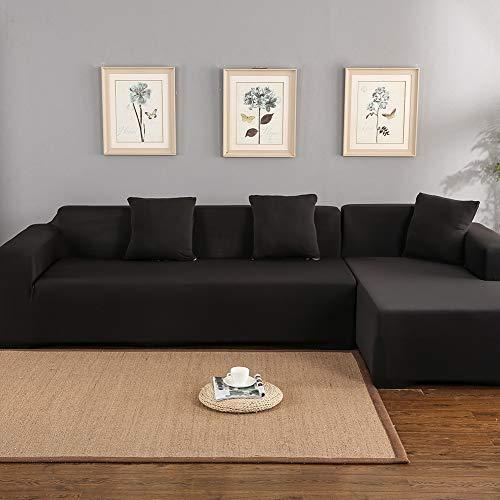EBTOOLS Sofabezug, Schonbezug Sofabezug Möbelbezug 3 + 2 Sitzbezug mit elastischer Unterseite für L-Form-Sofa, 140~185 cm + 190~225 cm(Schwarz)