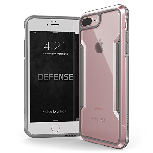 Raptic Shield, Compatible with Apple iPhone 8 Plus & iPhone 7 Plus, (Formerly Defense Shield) - Military Grade Drop Tested, Anodized Aluminum, TPU, and Polycarbonate Protective Case, Rose Gold