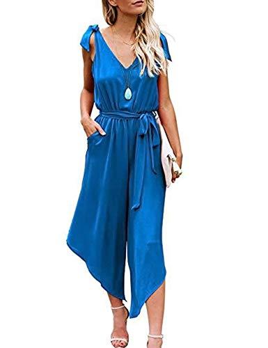 HAEMMA dames jumpsuit zomer V-hals elegant overall mouwloos lange broekpak Playsuit Romper met riem