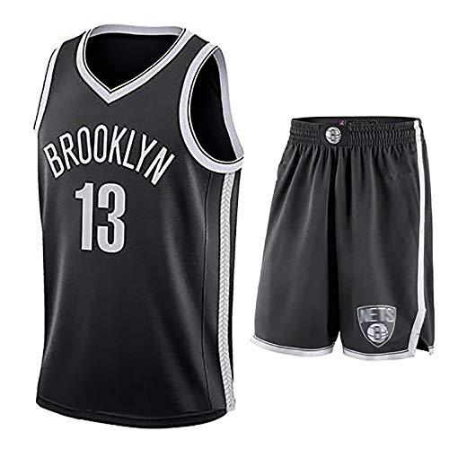 LISI Jerseys de la NBA para Hombres Brooklyn Nets # 13 Harden 100% Poliéster Shorts Chaleco Deportivo de Malla para Cómodo el Verano,Negro,XL