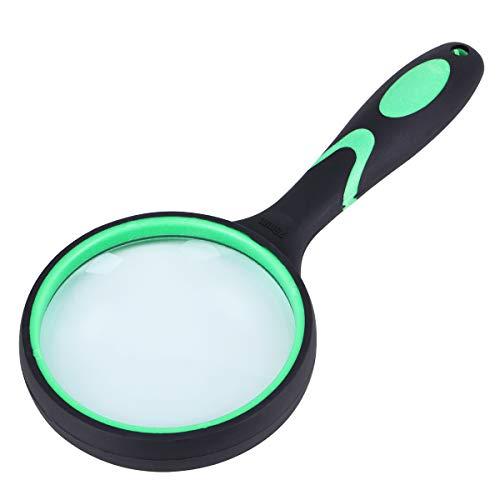 Große Lupe 5X Handleselupe für Senioren Kinder - 100 MM 4 Zoll Echtglas-Lupe für das Lesen von Buchzeitungen, Insekten- und Hobbybeobachtung, Unterrichtswissenschaft (grün)