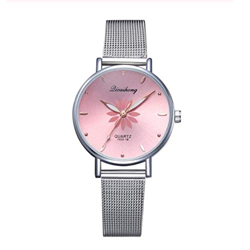 HYLH Zifferblatt Blumen Metall Damen Armband quarzuhr Mode Armbanduhr