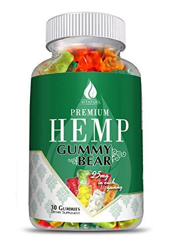 Hemp Gummy Bears - Hemp Gummies for Pain and Anxiety -100% Organic Natural Organic Hemp Extract -30 Count- 750MG- 25mg Each- Made in USA  #1 Hemp Edible Gummie  Anxiety Relief, Improve Sleep & Relax