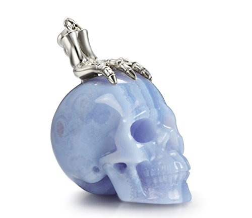Skullis Necklace of Blue Lace Agate Carved Crystal Skull and Silver Bones Pendant for Men and Women, 925 Sterling Silver Chain,Skull Jewelry.