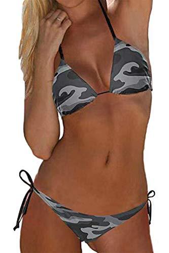 nobrand Womens Triangle Bikini Krawatte Seite unten Armee Tarnung 2PCS Badeanzüge Grau L.