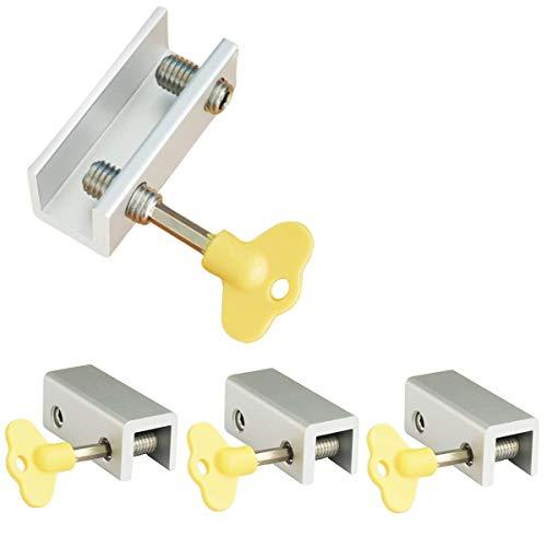 Serrures de fenêtre, Paquet de 4 serrures de fenêtre coulissantes en aluminium, Serrure de sécurité à cadre réglable pour porte coulissante avec clés