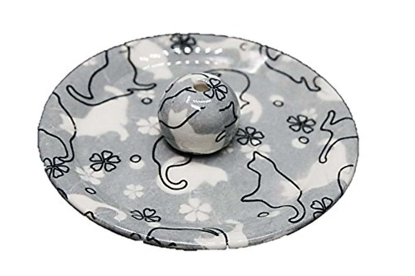 コイン断線ホイッスル9-48 ねこランド(グレー) 9cm香皿 日本製 お香立て 陶器 猫柄
