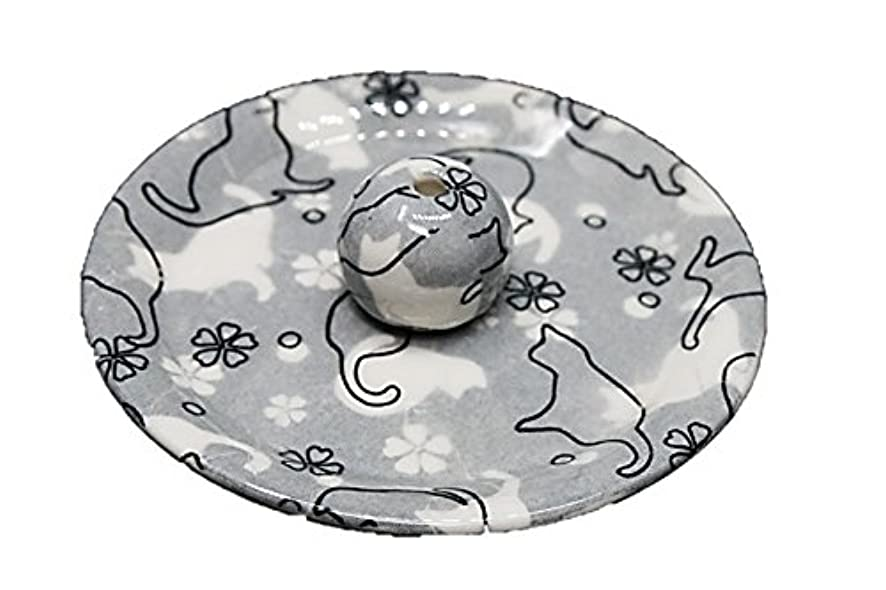 迫害第二編集者9-48 ねこランド(グレー) 9cm香皿 日本製 お香立て 陶器 猫柄