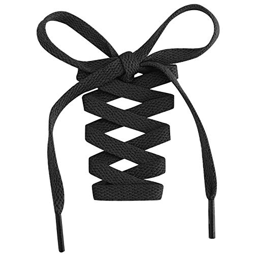 Handshop Flat Shoelaces 5/16' - Shoe Laces Replacements For Sneakers and Athletic Shoes Boots Black 114cm