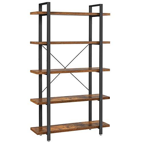 VASAGLE Bücherregal, stabiles Standregal mit 5 Regalebenen, Wohnzimmerregal im Industrie-Design, einfacher Aufbau, Wohnzimmer, Schlafzimmer, Büro, Vintagebraun-schwarz LLS55BX