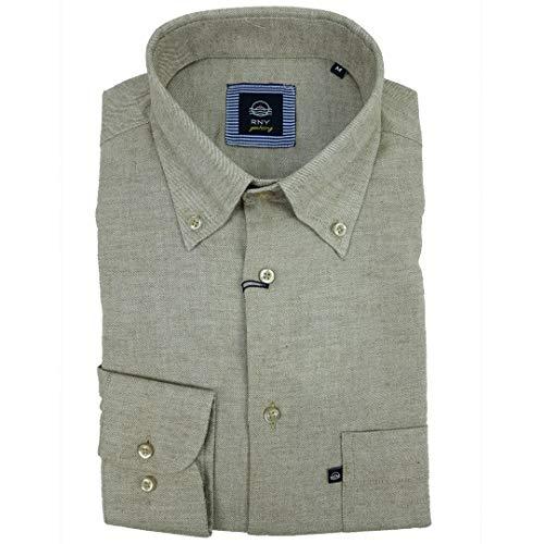 Rionero Herren-Hemd aus Flanell, kariert, einfarbig, mit Tasche, klassisch, L XXL, Beige XXL