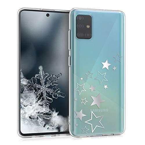 kwmobile Hülle kompatibel mit Samsung Galaxy A51 - Handyhülle Silikon Hülle - Sternenmix Silber Transparent