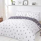 Sleepdown Stag & Trees-Juego edredón Reversible con Fundas de Almohada (100% algodón Cepillado, 200 cm x 200 cm), Gris y Blanco, Doublé