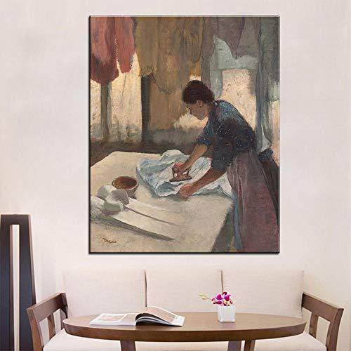Canvas Print Artisan Vrouw Strijken Muur Schilderen Gedrukt Op Doek voor Home Decoratie Olieverfschilderkunst Frameless 50Cmx70Cm