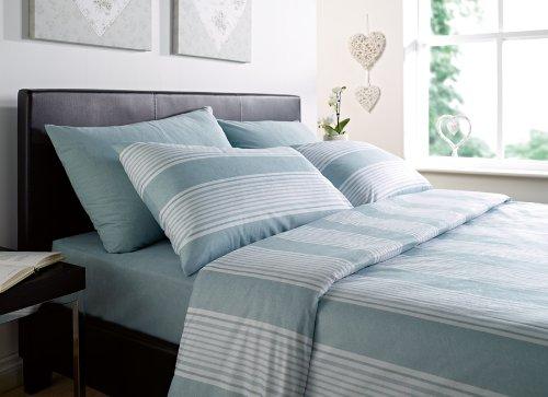 Luxurious Thermal Micro Fleece Double Bed Quilt Cover Set Stripe Eu De Nil/Teal Penzance