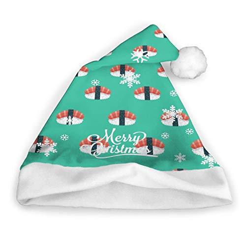 Pillow Socks Nigiri Japanese Food Christmas Hat, Santa Hat, Christmas Holiday Hat para Adultos, Unisex Velvet Comfort Christmas Sombreros Medianos