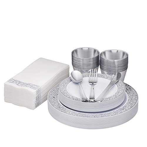 """Fete Silver Disposable Dinnerware – Lace Silver rim 25 Guest, 175 Pack Of Heavy-Duty Plastic – 25 Dinner Plates 10.25"""", 25 Dessert Plates 7.5"""", 25 Cups, 25 Napkins, 25 Forks, 25 Spoons, 25 Knives,"""