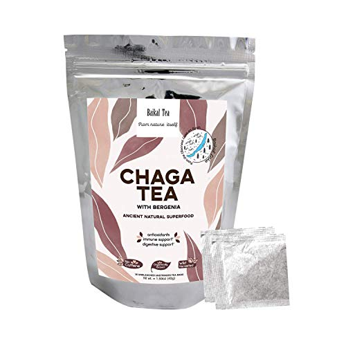 Chaga Tea - 100% Organic Chaga Mushrooms with Bergenia - Natural Immune Support - from Wild Siberian Lake - Hand-Picked by Baikal Tea