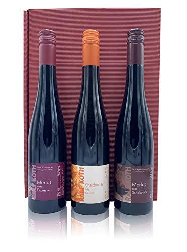 """Weinset""""Wein trifft auf Schoko, Espresso und Karamell"""" 3 x 0,5l im Geschenkkarton"""