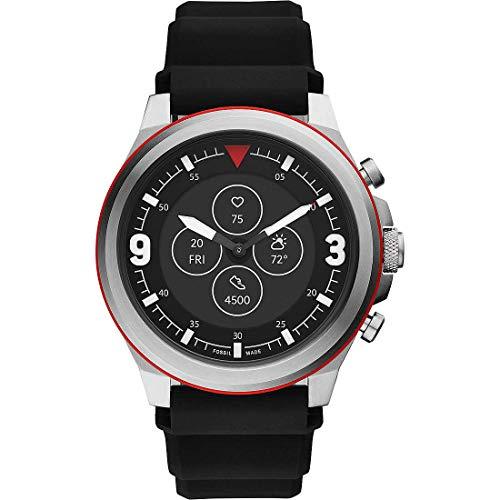 Fossil HR Latitude - Hybrid Smartwatch mit schwarzem Silikonarmband für Herren FTW7020