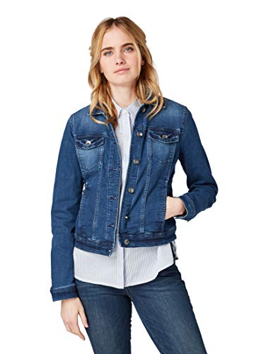 TOM TAILOR Damen 1007962 Jeansjacke, Blau (Stone Blue Denim 10141), Medium (Herstellergröße: M)