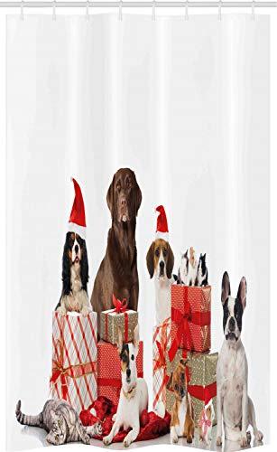 ABAKUHAUS Kerstmis- Douchegordijn, Huisdieren Surprise Boxes, voor Douchecabine Stoffen Badkamer Decoratie Set met Ophangringen, 120 x 180 cm, Bruin Rood Wit
