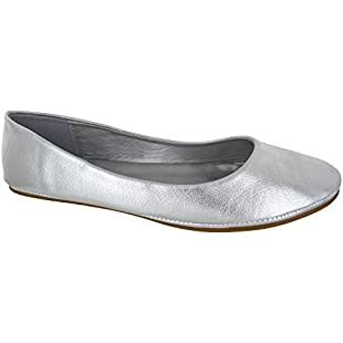 Customer reviews LADIES FLAT BALLET BALLERINA PUMPS PLAIN WOMANS WORK SCHOOL DOLLY SHOES  Silver Pu 6 UK:Eventmanager