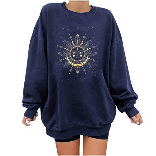 KYBA Sudaderas para mujer, suéter de manga larga, jersey de invierno con cuello redondo, vintage, ropa urbana, de gran tamaño, dibujos animados, niñas, ropa deportiva con capucha