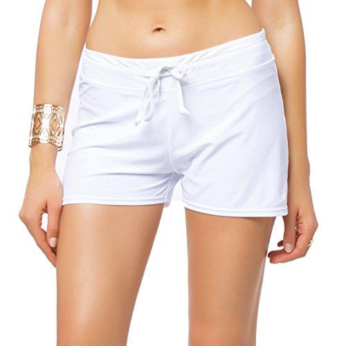 Pantalón Corto Shorts clásicas Pantalones Deportivos Mujer Braguitas Bikini Alta Elasticidad Color Sólido Talla Grande Colores Varias Playa Blanco X-Large