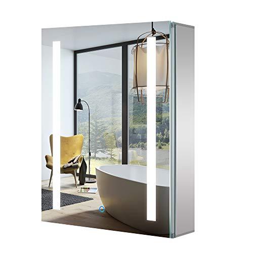 tokvon LED Spiegelschrank 50 x 70 cm Aluminium Badezimmerspiegelschrank mit Beleuchtung Badezimmerschrank Wandschrank mit Rasierer Steckdose Demister für Make-up