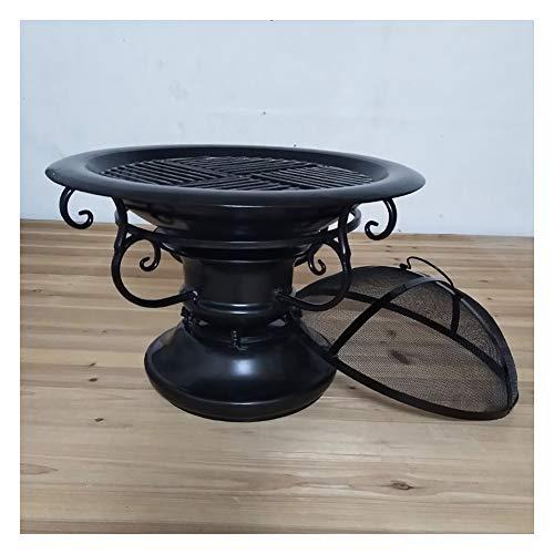 ZWH-Brasero Exterior Fogón Al Aire Libre Hierro Forjado Brasero De Carbón Barbacoa Estufa Invierno Calentador De Carbón Estufa Estufa Cubierta Exterior Grill (Size : B)