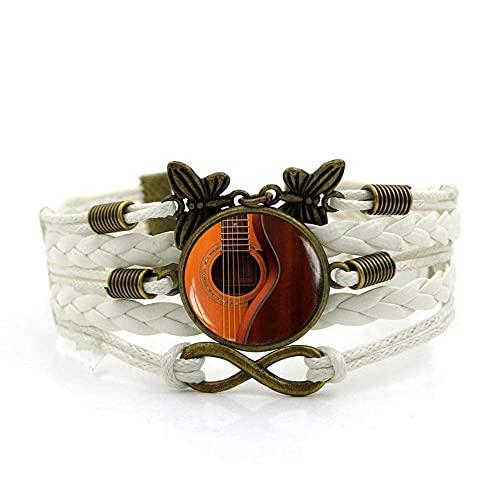 Pulsera tejida, Moda de cuerda blanca Hermosa música guitarra, Tiempo Pulsera de piedras preciosas Multi-capa Mano tejida de cristal Joyería de la joyería de las señoras de la moda de la joyería de es