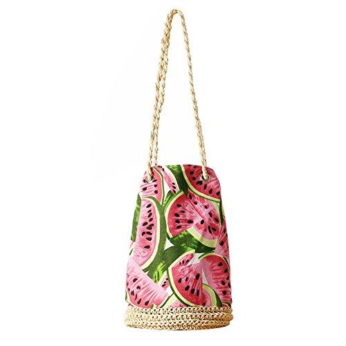 Strandtasche neue Schulter häkeln Tasche Eimer Tasche Quaste Stroh Paket Blume Tuch Wassermelone Muster gesponnene Tasche Strand Einkaufstasche Handtasche