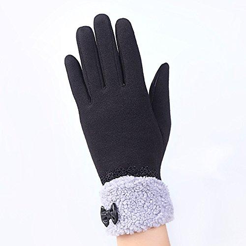 Hanggg Guantes cálidos invierno femenino guantes de equitación al aire libre invierno damas pantalla táctil guantes de algodón