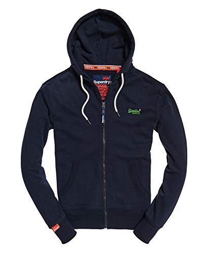 Superdry Herren ORANGE Label LITE Ziphood Kapuzenpullover, Blau (Royal Navy Rvw), Small