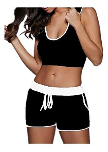 Fliegend Damen Sportanzug Freizeitanzug Sommer Jogginganzug Hausanzug Zweiteiler Traininganzug Crop Top Kurze Sporthose Fitnessanzug Laufenanzug M