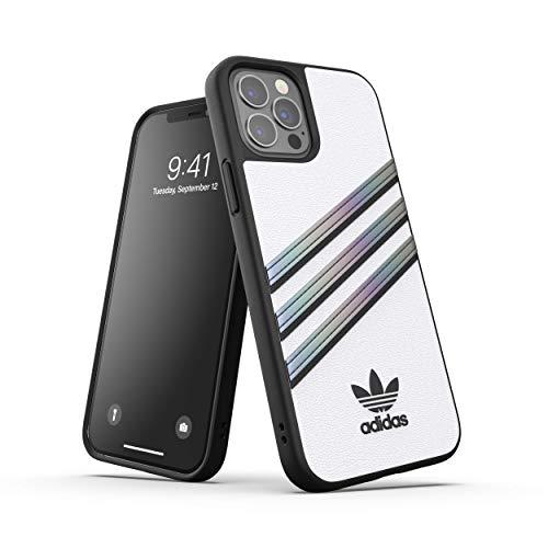 adidas Funda diseñada para iPhone 12, iPhone 12 Pro, 6,1 Pulgadas, Fundas a Prueba de caídas, Bordes elevados, Funda de Poliuretano Original, Color Blanco holográfico