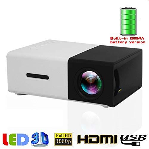 Mini draagbare LED-projector met ingebouwde 1300mAh batterij HDMI USB AV Ondersteuning 1080P Projector Home Media Player,Black